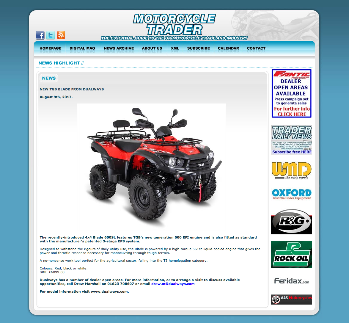 NEW TGB BLADE 4X4 600SL FEATURED IN MOTORCYCLE TRADER